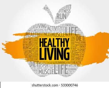 Healthy Living apple word cloud, health concept