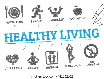 healthy living. Chart with keywords and icons