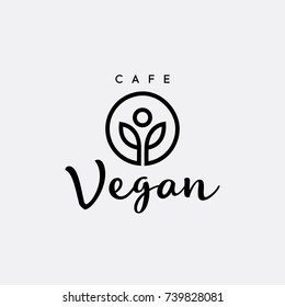 Healthy living element. Symbol of Healthy lifestyle for Fitness center, or Yoga studio. Vector logo design template for organic and vegetarian food stores, cafe, restaurant. Hand-lettering text Vegan.