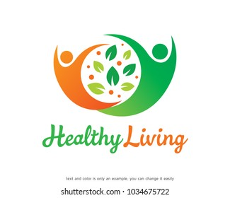 Healthy Living Logo Template Design Vector, Emblem, Design Concept, Creative Symbol, Icon