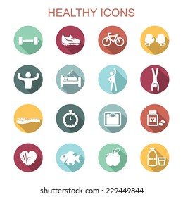 healthy long shadow icons, flat vector symbols