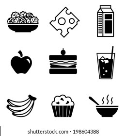 Healthy lunch foods vector icons