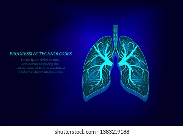 Healthy lungs 3d medicine model low poly.Progressive technologies.Human lungs have veins and various nerves. Treatment of lung cancer and inflammation of the human lung.