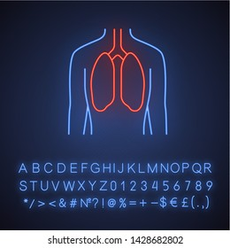 Healthy lungs neon light icon. Human organ in good health. Functioning pulmonary system.  Wholesome respiratory health. Glowing sign with alphabet, numbers and symbols. Vector isolated illustration