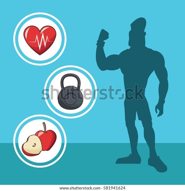 healthy man athletic diet sport silhouette