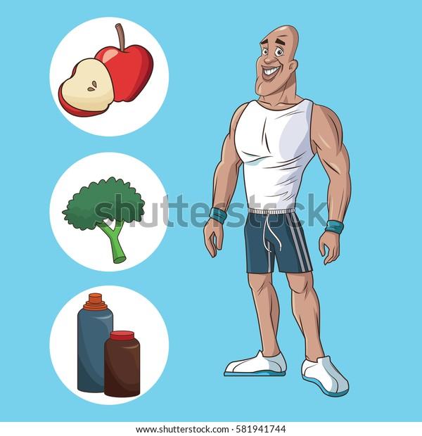 healthy man athletic muscular food nutrition diet