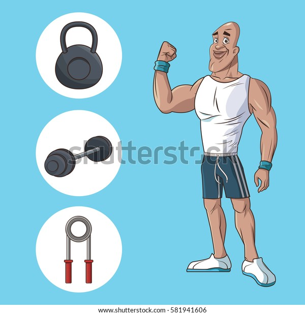 healthy man athletic muscular gym equipment