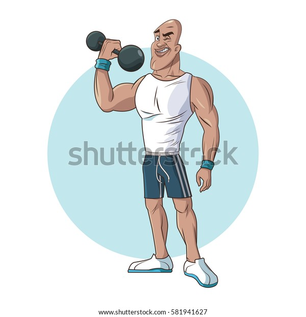 healthy man athletic muscular lifting weight