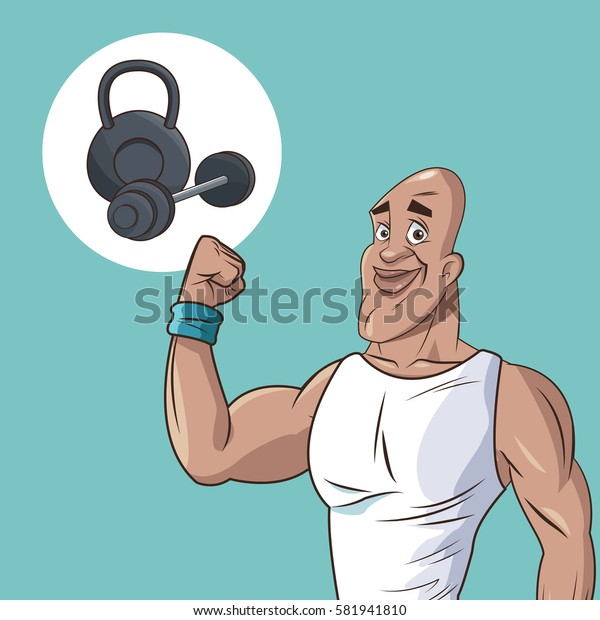 healthy man athletic muscular weight equipment