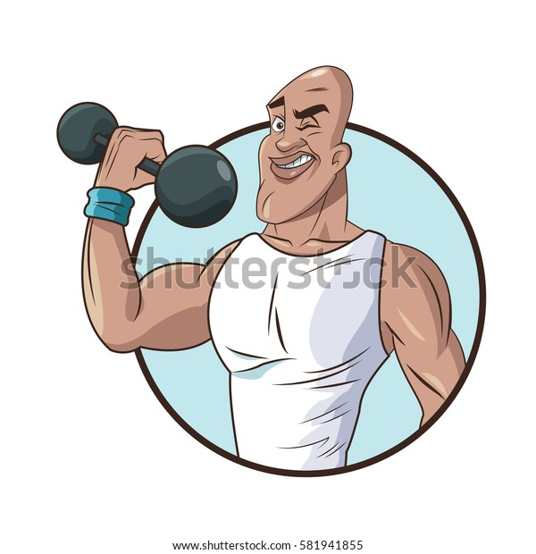 healthy man athletic muscular weight barbell