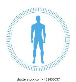 Healthy Man Body Logo Silhouette Icon Flat Vector Illustration