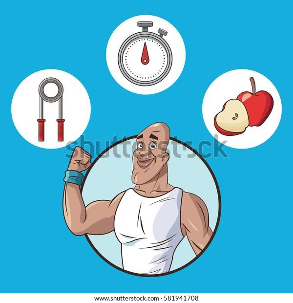 healthy man food equipment sport