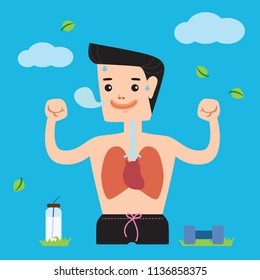 Healthy man he exercise breath have strong heart and lungs.