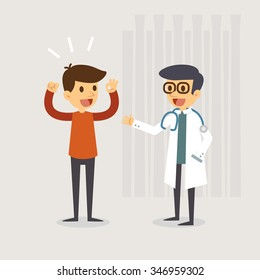 A healthy man in the hospital room after doctor treatment. Medical concept illustration.
