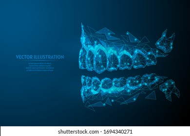 Healthy man jaw, mouth close-up view from the side. Correct bite, occlusion, molar. Concept of dentistry, orthodontics, dentist, wisdom tooth. 3d low poly wireframe isolated vector illustration.