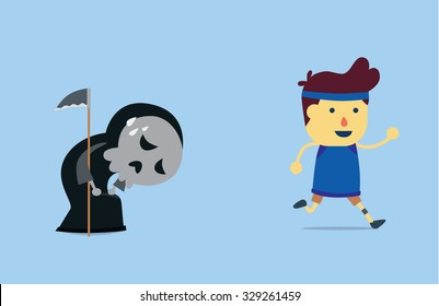 Healthy man run away from angel of death which it 's tired and can't follow to receive him life because him has good health.