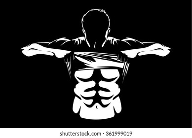 Healthy man showing abdominal muscles with taking off his shirt.