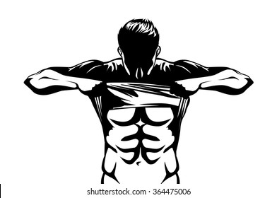 Healthy man showing abdominal muscles body with taking off his shirt on isolated
