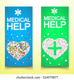 Healthy medical vertical banners with drugs pills capsules in form of hearts vector illustration