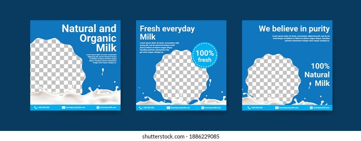 Healthy milk digital advertising. Social media post template for digital marketing and national milk day sales promotion. Food and beverage advertising. Healthy drinks for children.