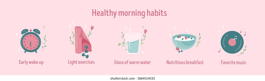 Healthy morning habits icon collection. Daily routine. Tracker stickers. Early wake up, light exercises, nutritious breakfast and favorite music. Isolated vector illustration. Banner vector template