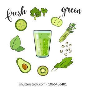 Healthy natural food. green smoothie in glass isolated on white background. Infographic modern premium quality set of fruits, vegetables and bio ingredients. Vector illustration with hand lettering