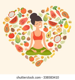 Healthy natural organic food. Beautiful girl in the lotus position on the fruit pattern background. The design concept of healthy food, vegetarian, yoga. Vectot illustration