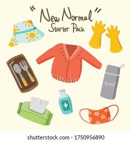 Healthy new normal starter set pack from virus corona, summer bucket hat, glove, sweater, stainless steel of straws, forks, spoon, bottle, flower mask, hand sanitizer and  tissue vector illustrations