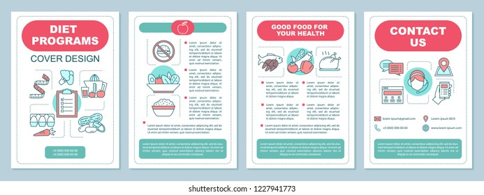 Healthy nutrition brochure template layout. Dieting program. Flyer, booklet, leaflet print design. Organic food. Sports nutrition. Vector page layouts for magazines, annual reports, advertising poster