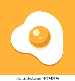 Healthy nutritious breakfast. Fried egg. Protein and yolk. Scrambled egg. Vector flat illustration on yellow background