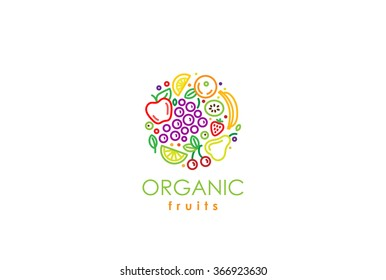 Healthy Organic eco vegetarian food Logo design vector template. Ecology fresh from farm fruits Logotype concept icon.