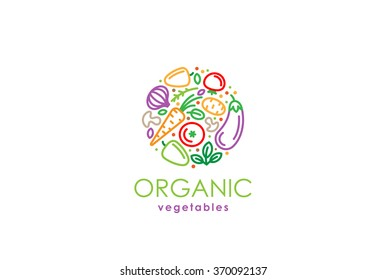 Healthy Organic eco vegetarian food Logo design vector template. Ecology Health eco Organic Logo fresh from farm vegetables Logotype concept icon.