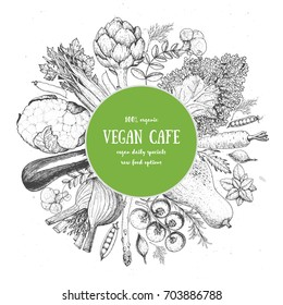 Healthy organic food vector illustration. Farm market label. Engraved style. Vegetables and meat hand drawn. Vegetables design template.