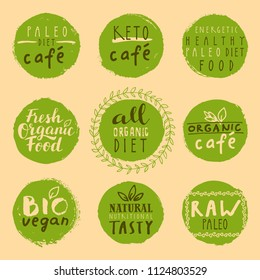 Healthy Paleo and Keto Diet patches. Retro set of fresh nutritious energetic tasty raw bio, organic, vegan healthy food labels. Hand drawn logos and vintage elements for menu or package. Vector badges