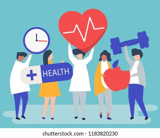 Healthy people carrying different icons related to healthy lifestyle