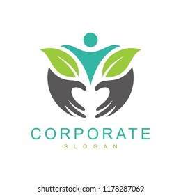 healthy people logo, health care logo, people with hand and leaf logo design