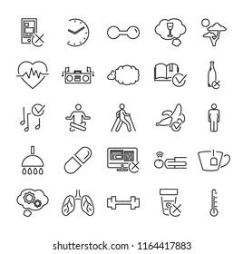 Healthy or problematic sleep vector illustration icon collection set. Isolated black outline pictograms with examples and suggestions for good dreams and relaxing. Live longer lifestyle simple basics.