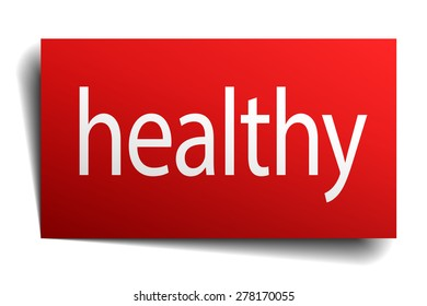 healthy red square isolated paper sign on white