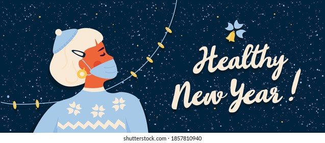Healthy Safe. New Year 2021 during covid-19 coronavirus pandemic. Girl in blue winter sweater wearing protective face mask. Calligraphic lettering. Snowflakes textured backround.Trendy retro style.