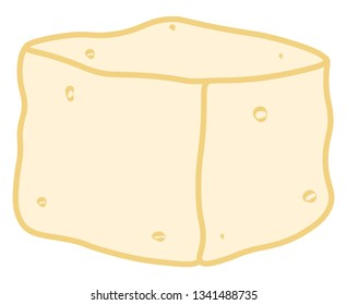 A healthy serving of bean curd or tofu made using soymilk vector color drawing or illustration