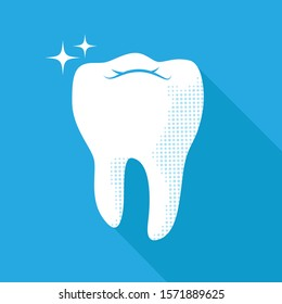 Healthy shiny white tooth icon. Dental care concept