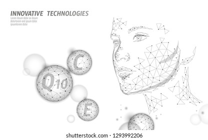 Healthy skin vitamin complex low poly sphere bubble. Health supplement female face anti-aging beauty cosmetics banner template. 3D coenzyme Q10, C, E. Medicine science vector illustration