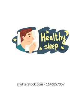Healthy sleep, man sleeping in his bed at night vector Illustration on a white background