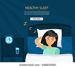 Healthy sleep melatonin concept. Happy girl sleeping well. Happy girl sleeping in bed. Vector flat illustration in cartoon style