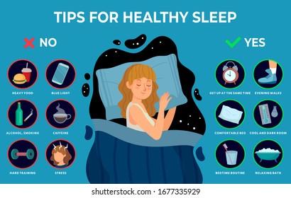 Healthy sleep rules. Healthy night sleep tips, good habits and peacefully sleeping girl vector infographics illustration. Tips and rule for bedtime sleep against insomnia