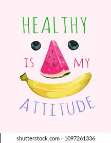 healthy slogan with fruits illustration