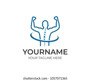 Healthy spine and joyful man with hands up logo template. Medical diagnostic center, treatment and care behind spine vector design. Healthcare and surgery illustration