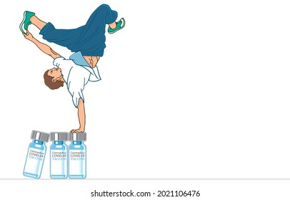 Healthy sports, ssportsmen performing L-kick in air or b-boy dancing break dance, standing one hands on large bottles of COVID-19 vaccine, Overcome obstacles, pandemic of mutant coronavirus concept.