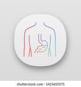 Healthy stomach app icon. Human organ in good health. Functioning digestive system. Wholesome gastrointestinal tract. UI/UX user interface. Web or mobile applications. Vector isolated illustrations