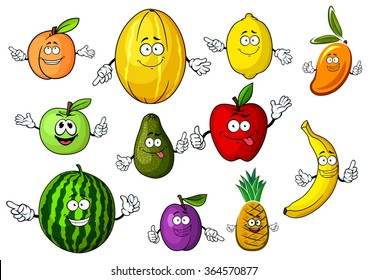 Healthy sweet red and green apples, peach, lemon, banana, pineapple, plum, watermelon, mango, avocado and melon fruits cartoon characters. Addition to recipe book, menu or dessert food design